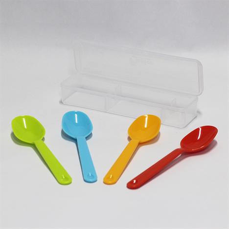 Kết quả hình ảnh cho Set 4 thìa nhựa màu sắc kèm hộp